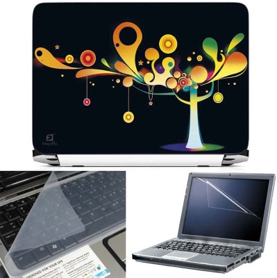 FineArts Abstract Tree 3 in 1 Laptop Skin Pack With Screen Guard & Key Protector Combo Set
