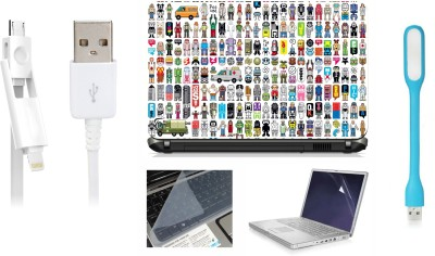 Print Shapes Toys smileys Pictures Laptop Skin with Screen Guard ,Key Guard,Usb led and Charging Data Cable Combo Set