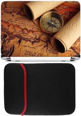 FineArts Compass 2 Skin Laptop Skin with Reversible Laptop Sleeve Combo Set