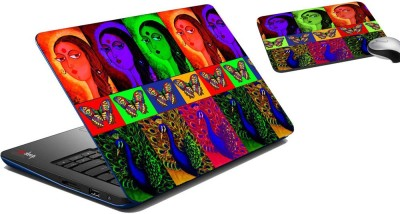 meSleep Multi Peacock Laptop Skin and Mouse Pad 105 Combo Set