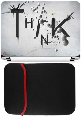 FineArts Think Laptop Skin with Reversible Laptop Sleeve Combo Set