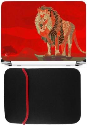 FineArts Lion Art Laptop Skin with Reversible Laptop Sleeve Combo Set