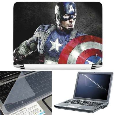 FineArts Captain America 3 in 1 Laptop Skin Pack With Screen Guard & Key Protector Combo Set