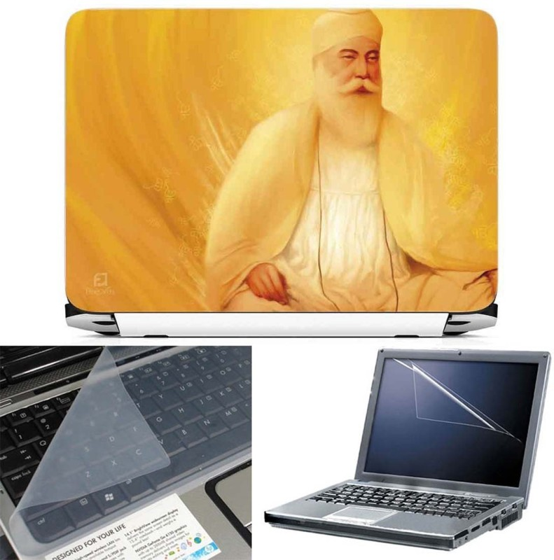 FineArts Guru Nanak Dev Yellow Dress 3 in 1 Laptop Skin Pack With Screen Guard & Key Protector Combo Set(Multicolor)