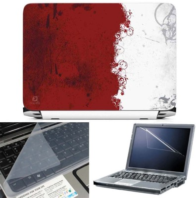 FineArts Red and White Abstract 3 in 1 Laptop Skin Pack With Screen Guard & Key Protector Combo Set