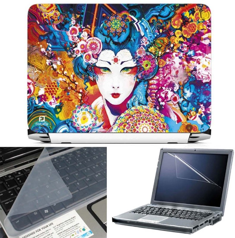 FineArts Abstract Face 3 in 1 Laptop Skin Pack With Screen Guard & Key Protector Combo Set(Multicolor)