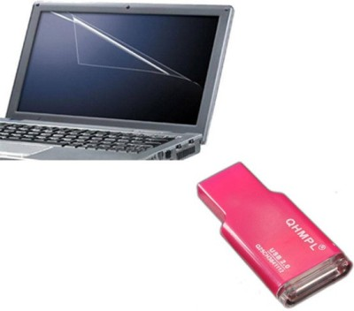 QP360 Laptop Screen Protector 14.1inch,Card Reader Pink Combo Set