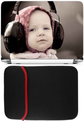 FineArts Kid With Headphone Laptop Skin with Reversible Laptop Sleeve Combo Set