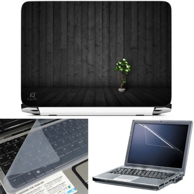 FineArts Tree Wooden 3 in 1 Laptop Skin Pack With Screen Guard & Key Protector Combo Set