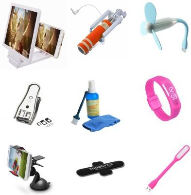 Bigkik 3d Phone Screen+ Mini Selfie+ Usb Fan+ Sim Cutter+ Cleaning Kits+ Led Watch+ Mobile Holder+ Touch You+ Portable Lamp Combo Set