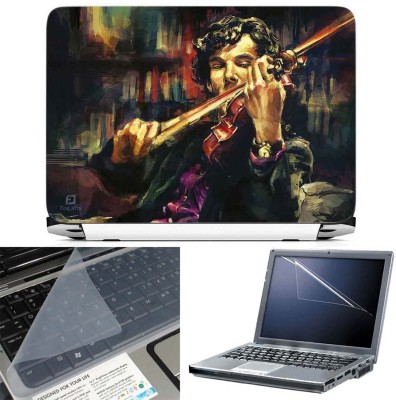 FineArts Sherlock Holmes 3 in 1 Laptop Skin Pack With Screen Guard & Key Protector Combo Set