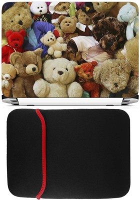 FineArts Multi Teddys Laptop Skin with Reversible Laptop Sleeve Combo Set