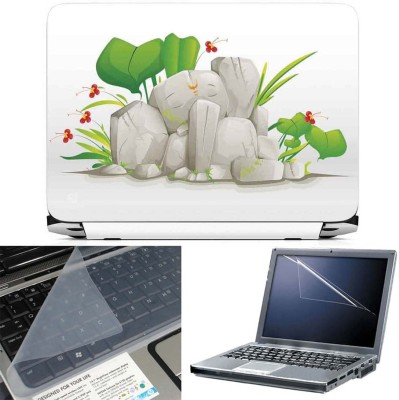 FineArts Rock Ganesh 3 in 1 Laptop Skin Pack With Screen Guard & Key Protector Combo Set