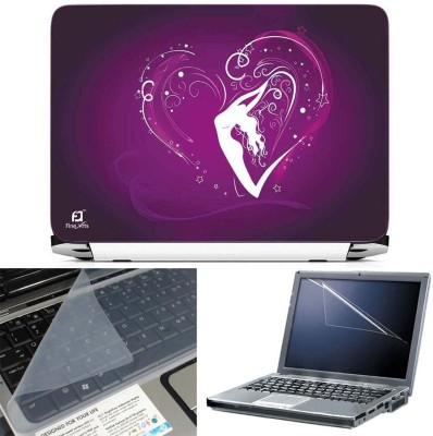 FineArts Heart Lady 3 in 1 Laptop Skin Pack With Screen Guard & Key Protector Combo Set