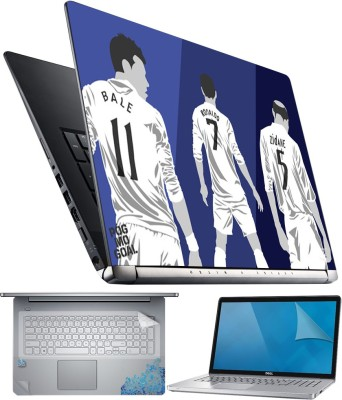 FineArts Bale Ronaldo Zidane 4 in 1 Laptop Skin Pack with Screen Guard, Key Protector and Palmrest Skin Combo Set