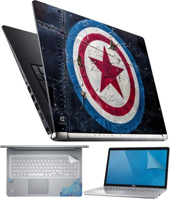 FineArts Captain America Logo 4 in 1 Laptop Skin Pack with Screen Guard, Key Protector and Palmrest Skin Combo Set