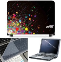 FineArts Color Circles 3 in 1 Laptop Skin Pack With Screen Guard & Key Protector Combo Set(Multicolor)