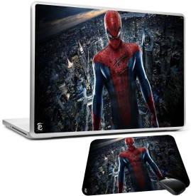 PRINT SHAPES SpiderMan in city laptop skin with mousepad Combo Set