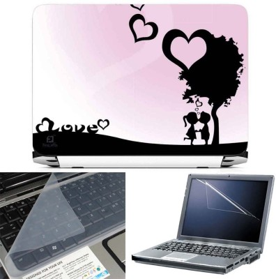 FineArts Sweet Cute Love 3 in 1 Laptop Skin Pack With Screen Guard & Key Protector Combo Set