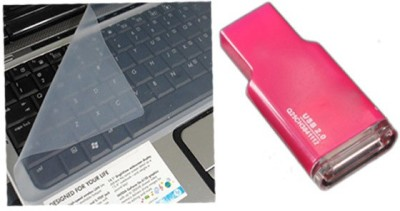 QP360 Laptop Keyboard Protector 14.6inch,Card Reader Pink Combo Set