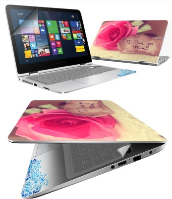 FineArts I Love Mom 4 in 1 Laptop Skin Pack with Screen Guard, Key Protector and Palmrest Skin Combo Set