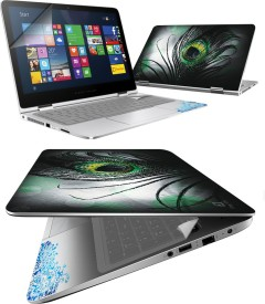 FineArts Black Feather 4 in 1 Laptop Skin Pack with Screen Guard, Key Protector and Palmrest Skin Combo Set