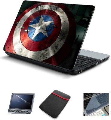 Psycho Art 4in1 Captain America Laptop Skins with Laptop Sleeve, Screen Guard and Key Protector 15.6