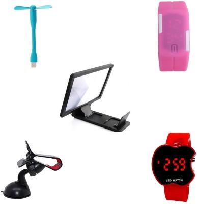 Bigkik USB FAN+ LED WATCH+ 3D PHONE SCREEN+ MOBILE HOLDER+ LED WATCH Combo Set