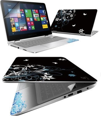 FineArts Black Back 4 in 1 Laptop Skin Pack with Screen Guard, Key Protector and Palmrest Skin Combo Set
