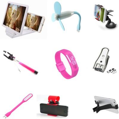 Bigkik 3d Phone Screen+ Usb Fan+ Mobile Holder+ Mini Selfie+ Led Lamp+ Led Watch+ Sim Cutter+ Streering Holder+ Mobile Stand Combo Set