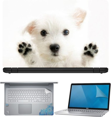 FineArts Puppy 4 in 1 Laptop Skin Pack with Screen Guard, Key Protector and Palmrest Skin Combo Set