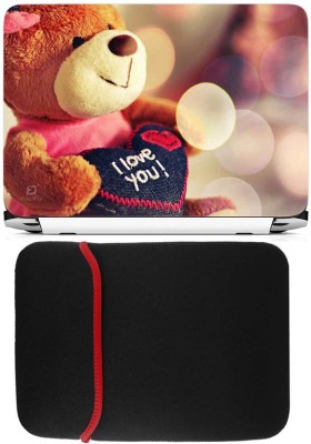 FineArts I Love You Teddy Laptop Skin with Reversible Laptop Sleeve Combo Set