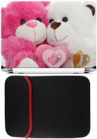 FineArts Sweet Teddys Laptop Skin with Reversible Laptop Sleeve Combo Set(Multicolor)