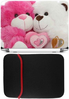 FineArts Sweet Teddys Laptop Skin with Reversible Laptop Sleeve Combo Set