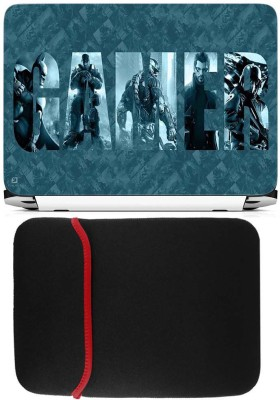 FineArts Gamer Laptop Skin with Reversible Laptop Sleeve Combo Set