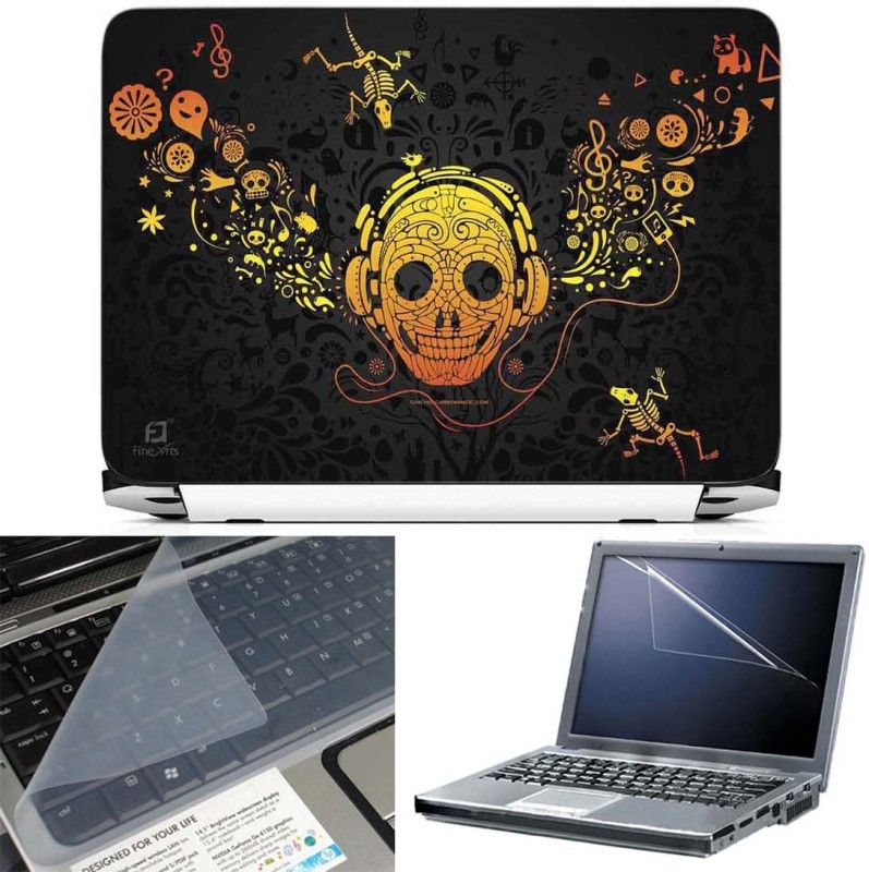 FineArts Ofrenda 3 in 1 Laptop Skin Pack With Screen Guard & Key Protector Combo Set(Multicolor)