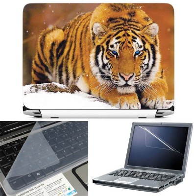 FineArts Tiger in Snow 3 in 1 Laptop Skin Pack With Screen Guard & Key Protector Combo Set