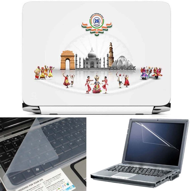 FineArts Incredible India 3 in 1 Laptop Skin Pack With Screen Guard & Key Protector Combo Set(Multicolor)