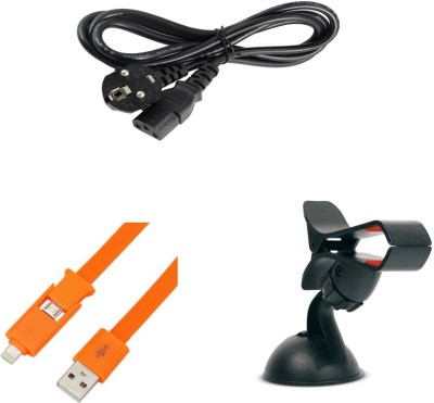 Bigkik Power Cord For Desktop And Monitor 1.5 M Power Cord + 2 In 1 Usb Cable And Car Holder Combo Set