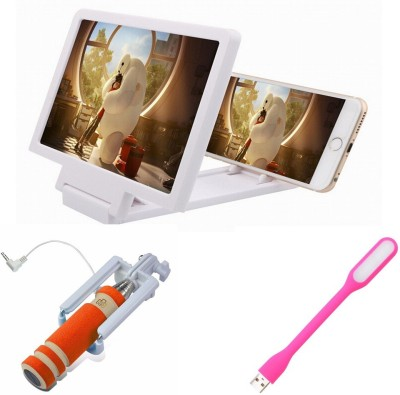 Bigkik MINI SELFIE STICK+ LED LAMP+ 3D PHONE SCREEN Combo Set