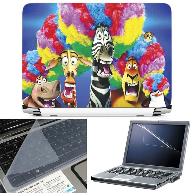 FineArts Madagascar 3 Europes 3 in 1 Laptop Skin Pack With Screen Guard & Key Protector Combo Set(Multicolor)
