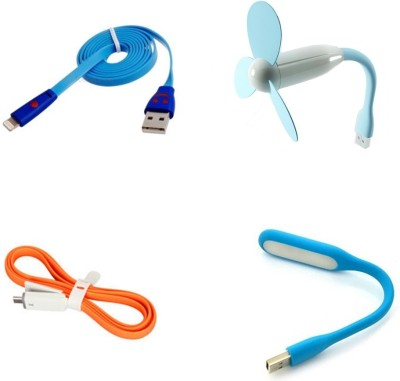 Bigkik Portable led lamp and usb fan and 2 in 1 usb cable with smiley cable Combo Set