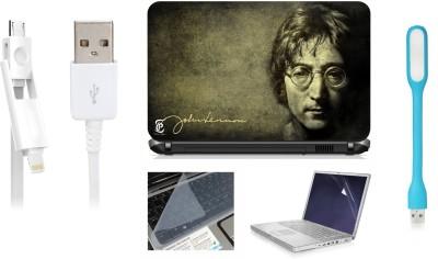 Print Shapes John lenon Laptop Skin with Screen Guard ,Key Guard,Usb led and Charging Data Cable Combo Set