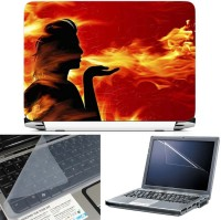 FineArts Lord Shiva Fire 3 in 1 Laptop Skin Pack With Screen Guard & Key Protector Combo Set(Multicolor)