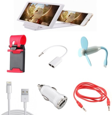 Bigkik AUX CABLE+ CAR CHARGER+ IPHONE CABLE+ USB FAN+ 3.5MM AUDIO JACK+ STEERING STAND+ 3D PHONE SCREEN Combo Set