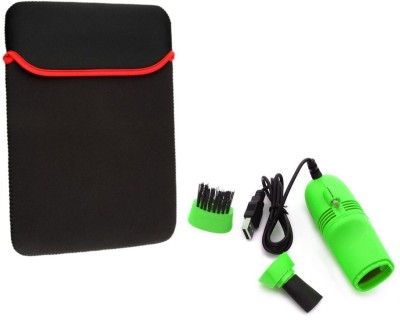 LEXEL 15.6 Inch Imported High Quality Soft Neoprene Sleeve With USB VACCUME CLEANER Combo Set