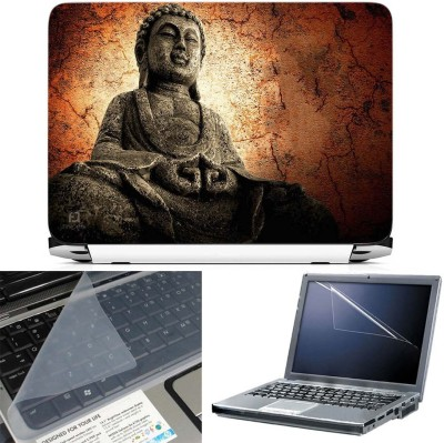 FineArts Buddha Stone Statue 3 in 1 Laptop Skin Pack With Screen Guard & Key Protector Combo Set