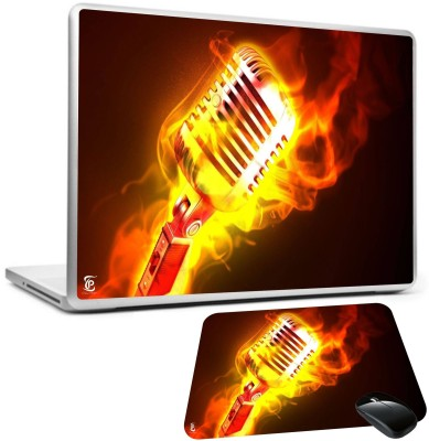 Print Shapes Microphone fire flame metal Combo Set