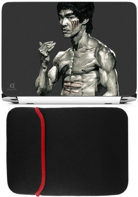 FineArts Brucelee Laptop Skin with Reversible Laptop Sleeve Combo Set