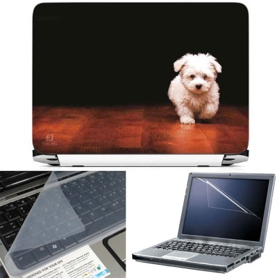 FineArts Cute Dog on Floor 3 in 1 Laptop Skin Pack With Screen Guard & Key Protector Combo Set
